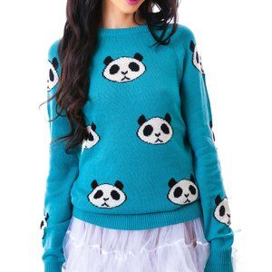 Wildfox Panda Head Party Sweater, Blue, XS